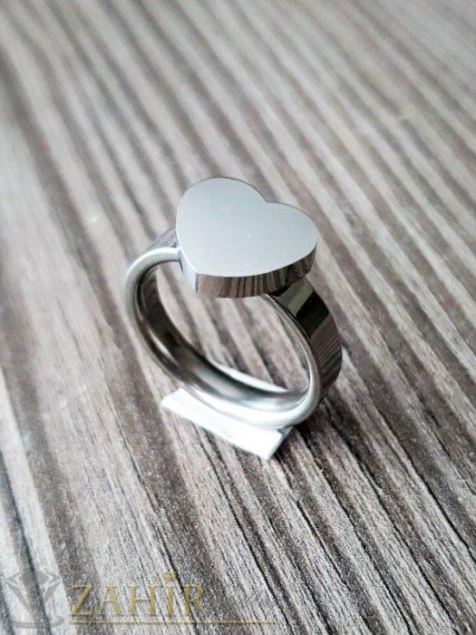 Дамски бижута - ТОП КАЧЕСТВО полирано стоманено сърце на класически пръстен, не променя цвета си, изящна изработка - P1545