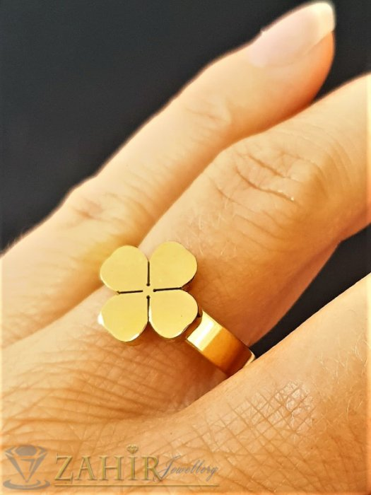 Дамски бижута - Спираща дъха стоманена четирилистна детелинка на класически пръстен, златно покритие, изящна изработка - P1546
