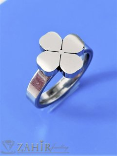Спираща дъха стоманена четирилистна детелинка на класически пръстен, не променя цвета си, изящна изработка - P1547