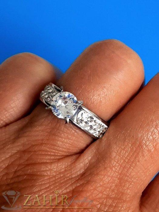 ХИТ модел великолепен кристален пръстен от неръждаема стомана с 2 реда бели кристали и голем бял циркон - P1548