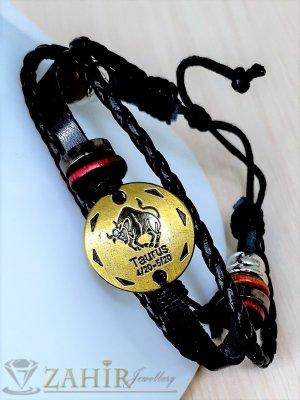 ГРИВНА ТАЛИСМАН със зодия ТЕЛЕЦ от естествена черна кожа, златиста плочка 2,5 см, метални рингове, регулираща се дължина - ZG1000