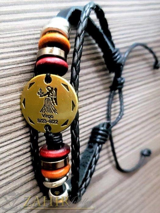 ГРИВНИ СЪС ЗОДИИ - ГРИВНА ТАЛИСМАН със зодия ДЕВА от естествена черна кожа, златиста плочка 2,5 см, метални рингове, регулираща се дължина - ZG1005