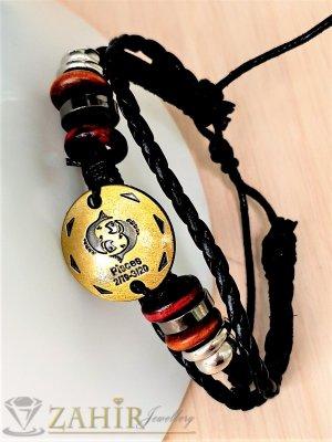 ГРИВНА ТАЛИСМАН със зодия РИБИ от естествена черна кожа, златиста плочка 2,5 см, метални рингове, регулираща се дължина - ZG1010