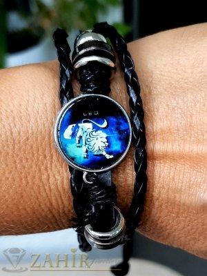 Синя зодиакална плочка 2,5 см ЛЪВ на черна гривна от естествена кожа , метални детайли, регулираща се дължина - ZG1011