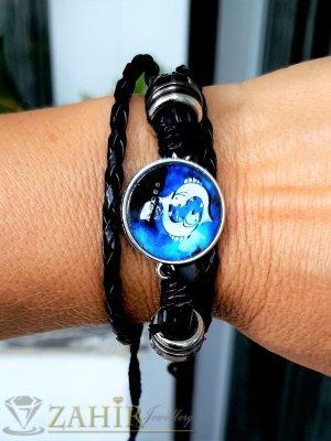 Синя зодиакална плочка 2,5 см РИБИ на черна гривна от естествена кожа , метални детайли, регулираща се дължина - ZG1013