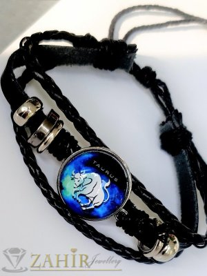 Синя зодиакална плочка 2,5 см ТЕЛЕЦ на черна гривна от естествена кожа , метални детайли, регулираща се дължина - ZG1015