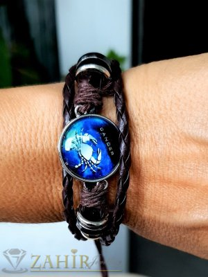 Синя зодиакална плочка 2,5 см РАК на кафявагривна от естествена кожа , метални детайли, регулираща се дължина - ZG1016