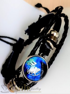 Синя зодиакална плочка 2,5 см СТЕРЕЛЕЦ на черна гривна от естествена кожа , метални детайли, регулираща се дължина - ZG1018