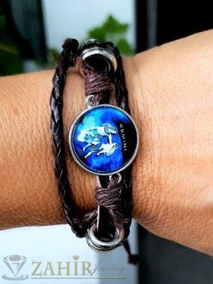 Синя зодиакална плочка 2,5 см БЛИЗНАЦИ на кафява гривна от естествена кожа , метални детайли, регулираща се дължина - ZG1019