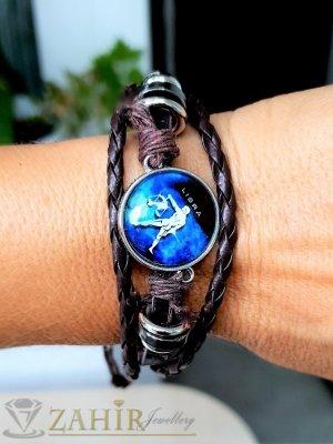 Синя зодиакална плочка 2,5 см ВЕЗНИ на кафява гривна от естествена кожа , метални детайли, регулираща се дължина - ZG1022