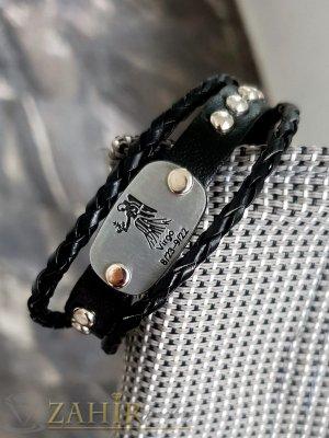 Амулет гривна - лазерно гравирана зодия ДЕВА на тройна черна гривна от естествена кожа с метални капси, регулираща се дължина - ZG1027