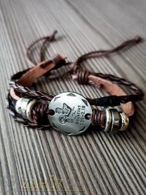 ТАЛИСМАН гривна със зодия ВОДОЛЕЙ на сребриста метална плочка 2,5 см , кафява кожа, метални рингове, регулираща се дължина - ZG1037