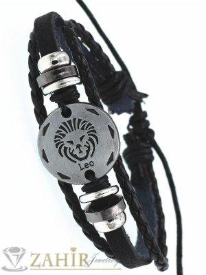 ТАЛИСМАН гривна със зодия ЛЪВ на сребриста метална плочка 2,5 см , ЧЕРНА кожа, метални рингове, регулираща се дължина - ZG1039