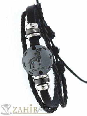 ТАЛИСМАН гривна със зодия КОЗИРОГ на сребриста метална плочка 2,5 см , ЧЕРНА кожа, метални рингове, регулираща се дължина - ZG1040