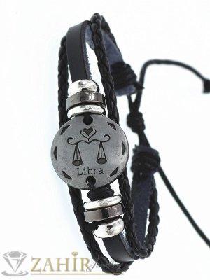 ТАЛИСМАН гривна със зодия ВЕЗНИ на сребриста метална плочка 2,5 см , ЧЕРНА кожа, метални рингове, регулираща се дължина - ZG1041