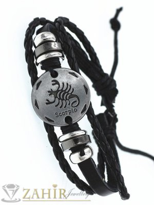 ТАЛИСМАН гривна със зодия СКОРПИОН на сребриста метална плочка 2,5 см , ЧЕРНА кожа, метални рингове, регулираща се дължина - ZG1042