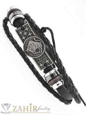 СУПЕР ЯКА гривна със зодия ТЕЛЕЦ на гравирана сребриста метална плочка 4 см , ЧЕРНА кожа, метални рингове, регулираща се дължина - ZG1051