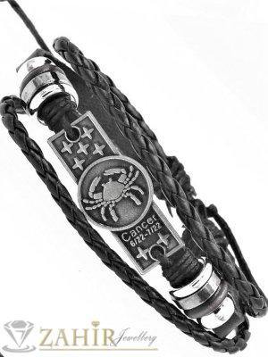 СУПЕР ЯКА гривна със зодия РАК на гравирана сребриста метална плочка 4 см , ЧЕРНА кожа, метални рингове, регулираща се дължина - ZG1053