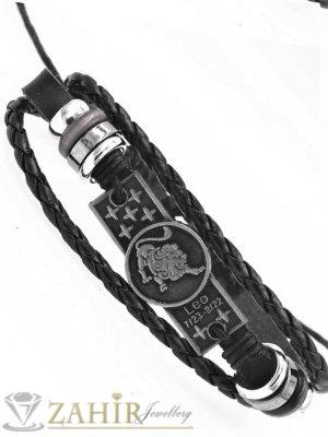 СУПЕР ЯКА гривна със зодия ЛЪВ на гравирана сребриста метална плочка 4 см , ЧЕРНА кожа, метални рингове, регулираща се дължина - ZG1055