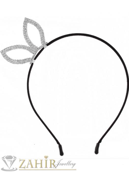 Аксесоари за коса - Неустоима сребриста метална диадема с метална кристална панделка с размери 5,5 на 3,5 см- D1135