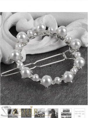 Луксозна метална шнола с нежен перлен овал 4,5 см, златиста, високо качество - FI1042
