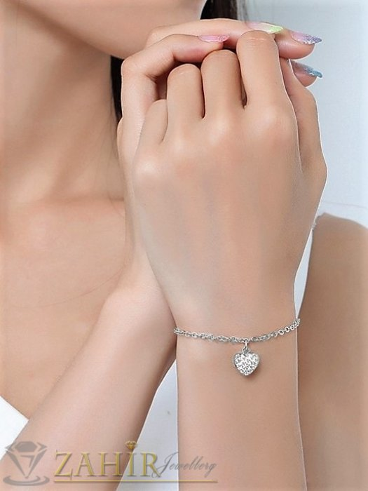 Дамски бижута - Много нежна верижка за ръка или глезен с кристално сърце 1 см,неръждаема стомана, 2 дължини с удължител 5 см - G2137