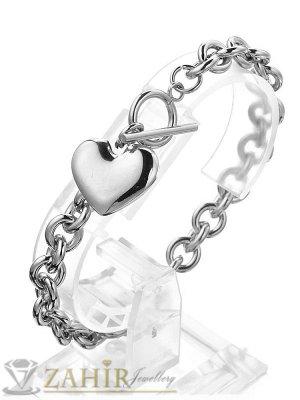 Kрасива верижка с елегантна закопчалка и триизмерно сърце 2 см,неръждаема стомана, 4 налични дължини - G2139