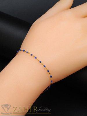Сини топчета на гривна за глезен или за ръка с верижка изчистен модел  ,неръждаема стомана - GK1275