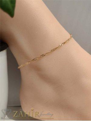 Позлатена стоманена гривна за крак или ръка извита верижка в 2 дължини с удължител 5 см,класика - GK1294