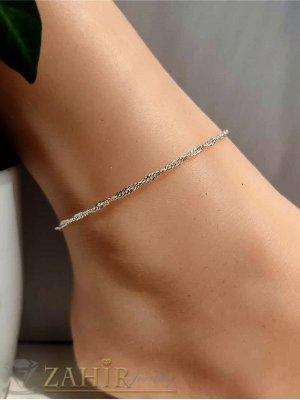Висококачествена стоманена гривна за крак или ръка извита верижка дълга 22 с удължител 5 см,не променя цвета си - GK1295
