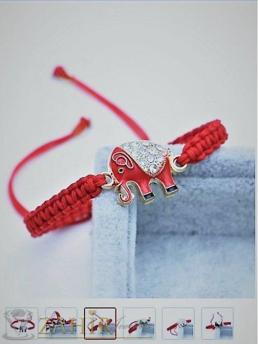 Дамски бижута - Позлатено червено слонче с кристали 3 см на червена плетена гривна против уроки , регулираща се - GU1081