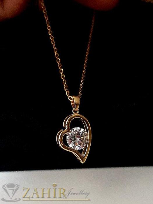 Дамски бижута - Супер подарък - нежно сърце 1,7 см с фасетиран циркон 0,8 см на класическа верижка 45 или 50 см,позлатена стомана - K2100