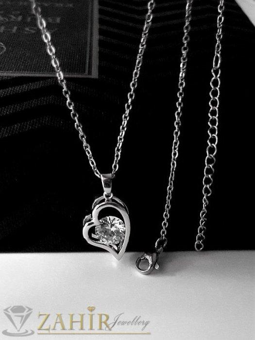 Дамски бижута - Супер нежно сърце 1,7 см с фасетиран циркон 0,8 см на класическа верижка 45 с удължител 5 см,неръждаема стомана - K2101