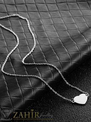 Стоманен елемент сърце 1,5 см на класическа верижка 45 или 50 см от  неръждаема стомана- K2118