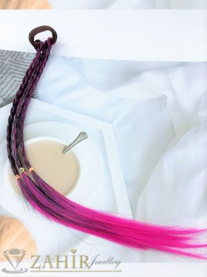 4 бр. плитки на ластик от синтетична коса в розово и черно, дължина 40 см, носят се на опашка  - KP1002