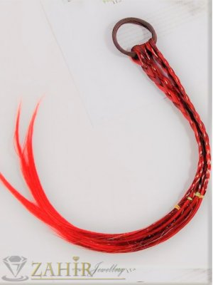 4 бр. плитки на ластик от синтетична коса в оранжево и кафяво, дължина 40 см, носят се на опашка  - KP1005