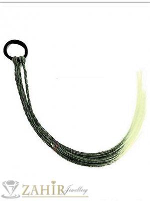4 бр. плитки на ластик от синтетична коса в русо и черно, дължина 40 см, носят се на опашка  - KP1006
