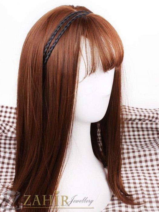 Аксесоари за коса - 2 бр. черни плитки, всяка по 0,8 см на диадема от синтетична коса, еластична, разпъва се до 50 см - KP1013