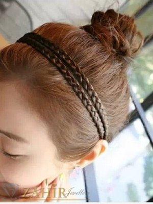 2 бр. кафяви  плитки, всяка по 0,8 см на диадема от синтетична коса, еластична, разпъва се до 50 см   - KP1015