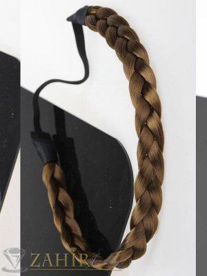 Ефектна кестенява плитка широка 1,5 см на диадема от синтетична коса, еластична, разпъва се до 50 см   - KP1025