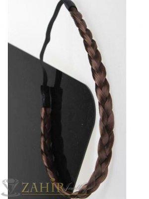 Ефектна тъмнокафява плитка широка 1,5 см на диадема от синтетична коса, еластична, разпъва се до 50 см   - KP1026