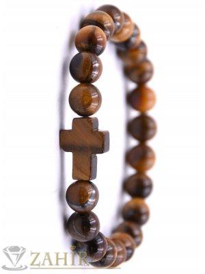 Кръст от тигрово око 2 см на гривна с камъни тигрово око 8 мм , 7 дължини - MGA1581