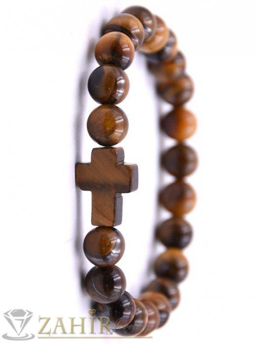Дамски бижута - Кръст от тигрово око 2 см на гривна с камъни тигрово око 8 мм , 7 дължини - MGA1581