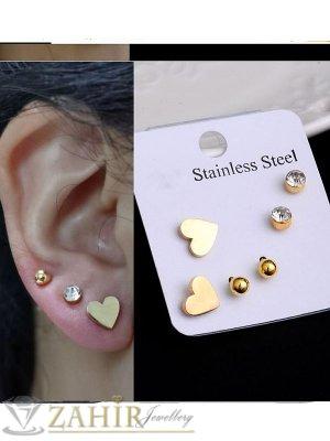 3 чифта малки обеци от стомана -сърца и кристали  ,за втора и трета дупка на ухото, на винт, златно покритие- O2810