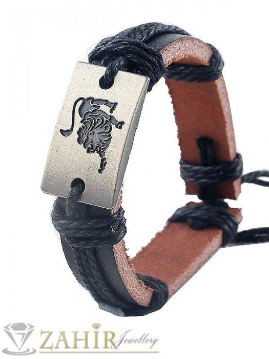 ГРИВНИ СЪС ЗОДИИ - Черна кожена гривна със зодия ЛЪВ на правоъгълна плочка 2,5 см, регулируема дължина - ZG1081