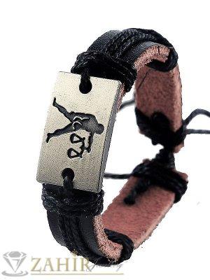 Черна кожена гривна със зодия ВЕЗНИ на правоъгълна плочка 2,5 см, регулируема дължина - ZG1082
