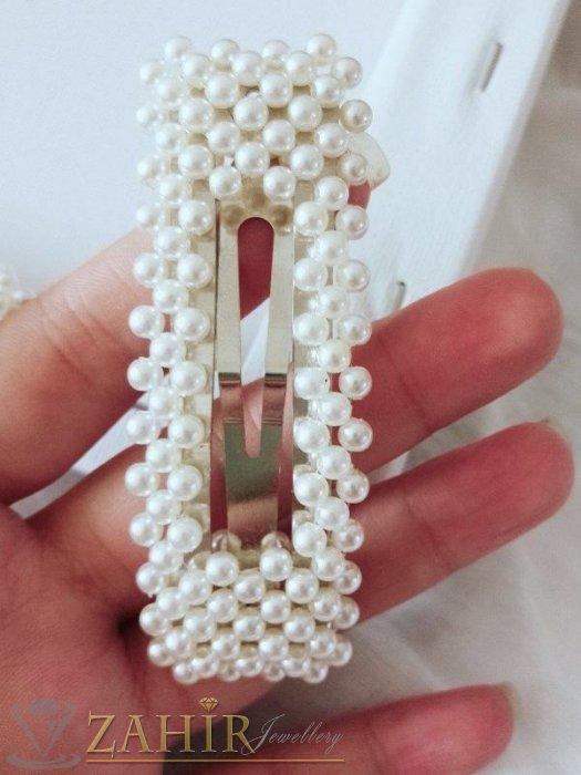 Аксесоари за коса - Хит луксозна шнола с нежни перли, дълга 8 см,тик-так закопчаване, сребриста основа- FI1076