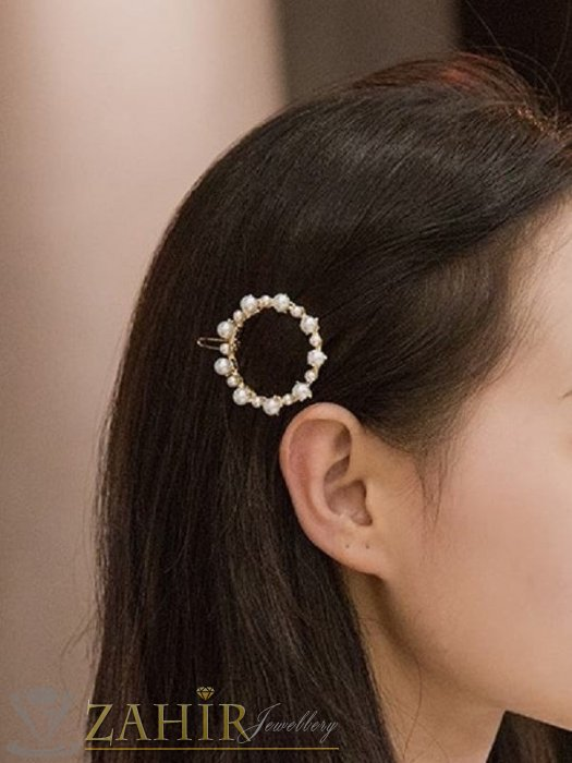 Аксесоари за коса - Луксозна метална шнола с нежен перлен кръг 4 см, златиста, високо качество - FI1003