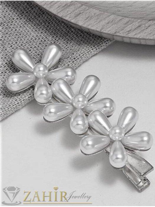 Аксесоари за коса - ХИТ модел метална шнола тип щъркел 7 см с 3 перлени цветя, сребриста, високо качество - FI1167