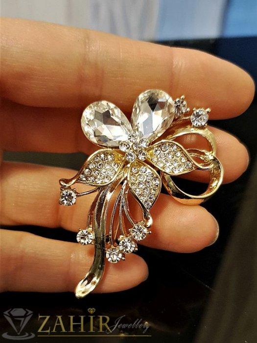 Брошки - Великолепно кристално цвете брошка,златно покритие, широка 4 см, дълга 6 см  - B1027
